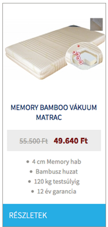 Memory Bamboo vákuum matrac
